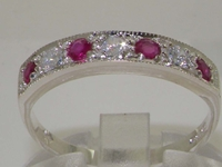 Beautiful 10K White Gold Diamond and Ruby Half Eternity Ring