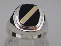 Classic Mens Sterling Silver Signet Ring Set with Black Onyx and Yellow Gold Stripe