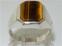Sophisticated Mens Sterling Silver Tiger Eye Signet Ring