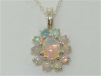 Beautiful 9K White Gold Natural Opal Cluster Pendant & Necklace