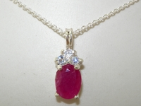 Stunning 9K White Gold Natural Ruby and Diamond Pendant & Necklace