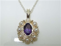 Dainty Sterling Silver Amethyst and Pearl Pendant Necklace