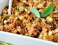 Focaccia Stuffing with Apples and Leeks
