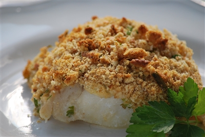 Baked Cod with Crunchy Lemon and Herb Topping