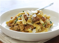 Penne with Butternut Squash, spinach, and Sweet Italian Sausage