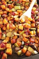 Roasted butternut Squash, Brussel sprouts and Apples