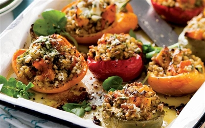 Barley and Vegetable Stuffed Peppers