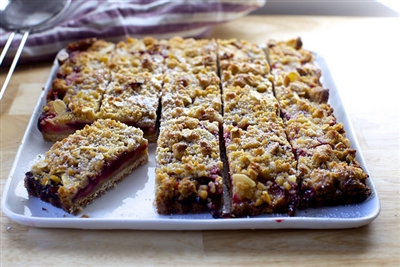 Summer Plum Feast Bars with Almond Marzipan Crumble