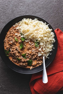 Ground Beef and Mushroom Stroganoff (Low carb)