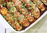 Chicken Enchilada Zucchini Boats Low Carb