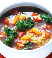 Sweet potato, barley, and kale soup