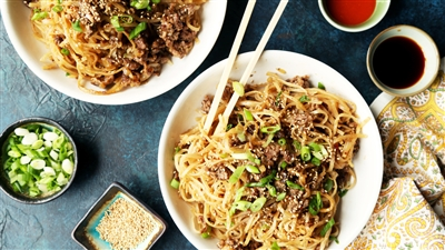 Szechuan Ground Beef and Onions with Noodles