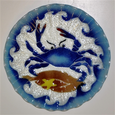 10. 75 inch Blue Claw Crab Plate