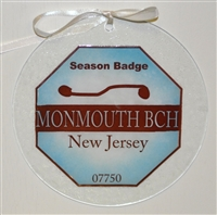 Any Town Beach Badge 7 inch Blue Suncatcher