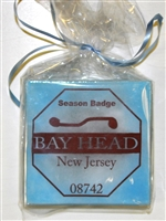 Any Town Beach Badge Blue Coasters