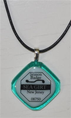 Any Town Beach Badge Seafoam Necklace