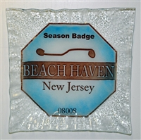Any Town Beach Badge Blue Small Square Plate