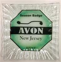 Any Town Beach Badge Seafoam Small Square Plate