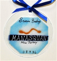 Any Town Beach Badge Blue Suncatchers