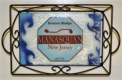 Any Town Beach Badge Blue Small Tray (with Metal Holder)
