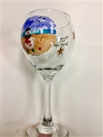 Beach Snowman Red Wine Glass