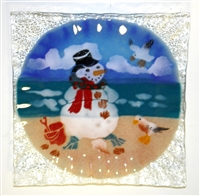 Beach Snowman Small Square Plate