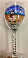 Beach Snowman White Wine Glass