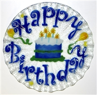 Blue Happy Birthday 10.75 inch Plate