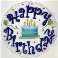 Blue Happy Birthday 12 inch Plate