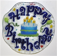 Blue Happy Birthday 9 inch Bowl
