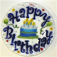 Blue Happy Birthday 9 inch Plate