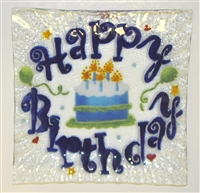 Blue Happy Birthday Small Square Plate