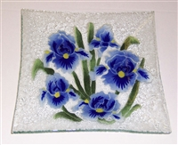 Blue Iris Large Square Plate