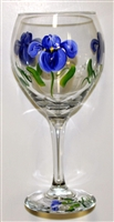 Blue Iris Red Wine Glass