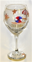 Bold Beach Scene Red Wine Glass