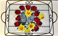 Bold Spring Floral Large Tray (with Metal Holder)