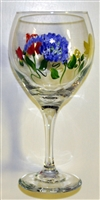 Bold Spring Floral Red Wine Glass
