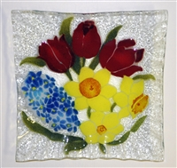 Bold Spring Floral Small Square Plate