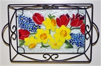 Bold Spring Floral Small Tray (with Metal Holder)
