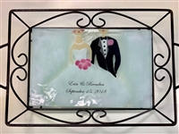 Bride and Groom Small Tray (with Metal Holder)