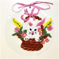 Bunny in Basket 7 inch Suncatcher