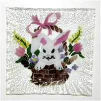 Bunny in Basket Small Square Plate