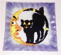 Cat and Moon Small Square Plate