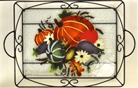 Fall Harvest Large Tray (with Metal Holder)
