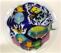 Tropical Fish Blue 16 inch Platter