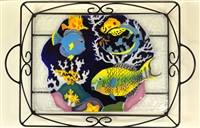 Tropical Fish Large Blue Tray (with Metal Holder)