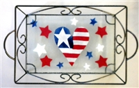 Heart Flag Small Tray (with Metal Holder)
