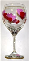 Hearts Red Wine Glass
