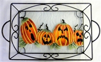 Jack O'Lantern Small Tray (with Metal Holder)