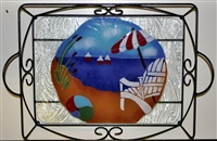 Large Bold Beach Scene Tray (with Metal Holder)